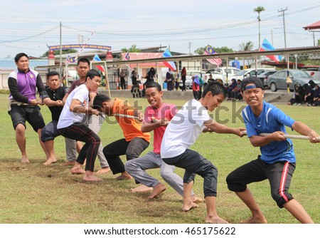 Lahad Datu, Sabah Malaysia- AUG 07, 2016: Malaysian secondary students compete in tug of war as one of the activities organised under school co-curricular program