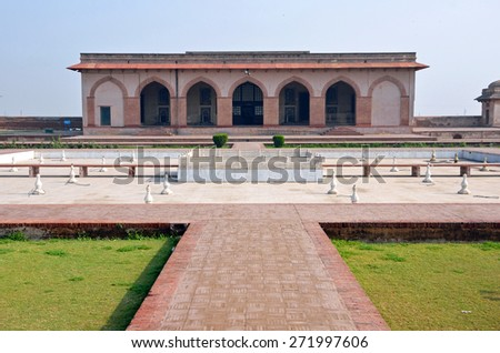 LAHORE, PAKISTAN - APRIL 4 2015: Jahangir's quadrangle is in Lahore Fort and the construction of it was began by Emperor Akbar and completed by his son Jahangir in 1618. - stock photo