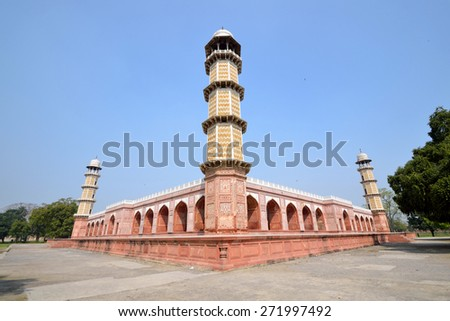 LAHORE, PAKISTAN - APRIL 4 2015: Jahangir's Tomb is a mausoleum built for Jahangir, who ruled the Mughal Empire and it was built in 1637 by his son. - stock photo