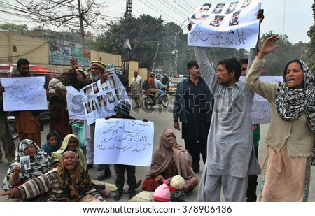LAHORE, PAKISTAN - FEB 19: Residents of Gujrat are protesting against murder of Abdul Ghaffar as they are demanding to arrest culprit Imran and Saleem on February 19, 2016 in Lahore.
