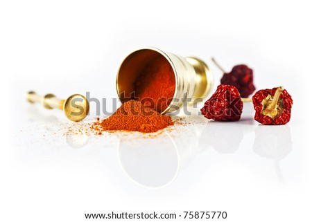 Laid a small mortar and red hot pepper on white background. - stock photo