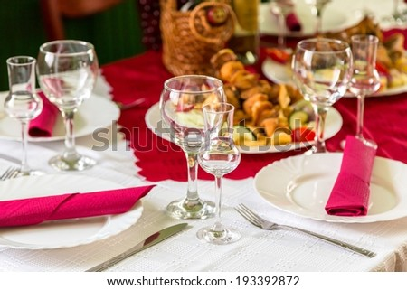 Laid table with food