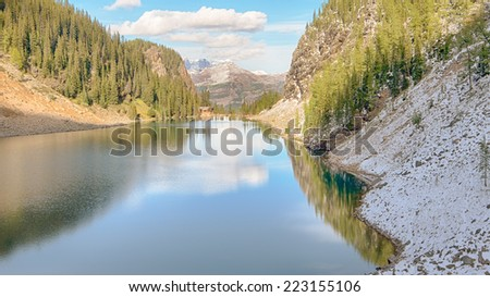Lake Agnes Tea House Reflection, Whitehorn Mountain, Lake Louise Hamlet, Banff National Park, Alberta, Canada - stock photo