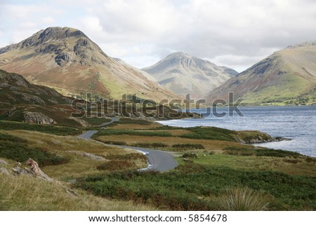 Lake and hills. - stock photo