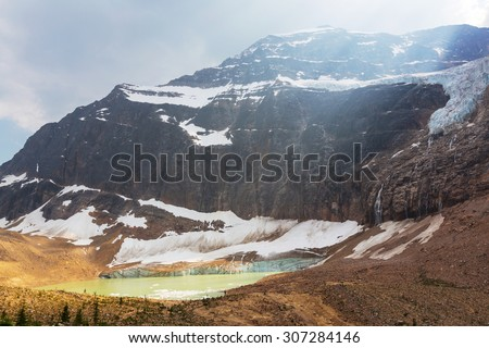 Lake and Mount Edith Cavell in Jasper National Park,Canada - stock photo