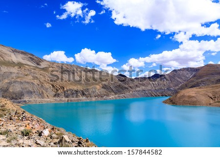 Lake and mountain with blue sky - stock photo