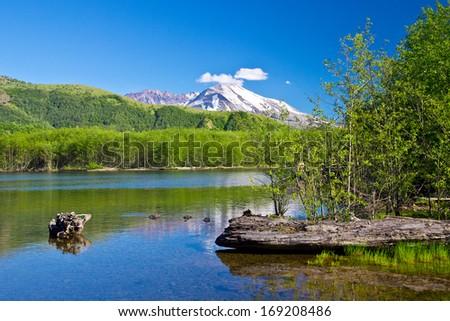 Lake and Mountains - stock photo