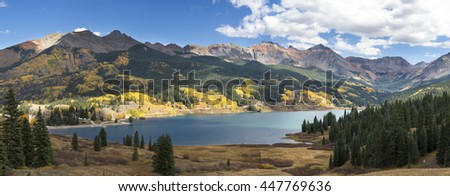 Lake and mountains of Colorado panorama - stock photo