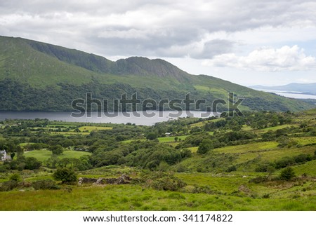 lake and mountains on the kerry way in irelands wild atlantic way - stock photo