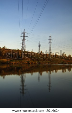 lake and powerlines