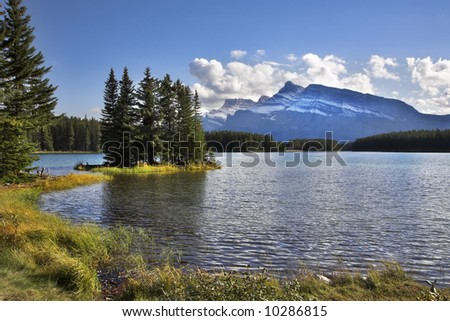 Lake and small picturesque island in reserve in the north of Canada