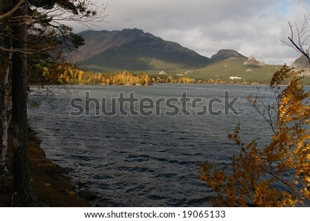 Lake and trees in fall colors