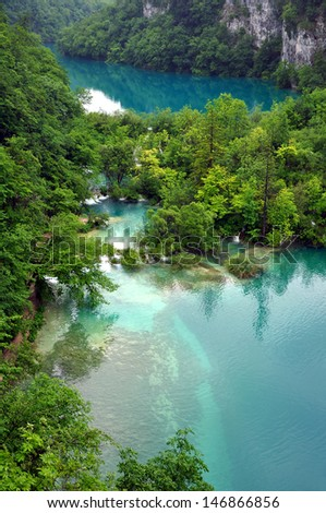 lake and waterfalls in kravica - stock photo