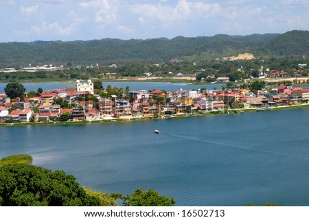 Lake around tourism town of Flores Guatemala Central America - stock photo