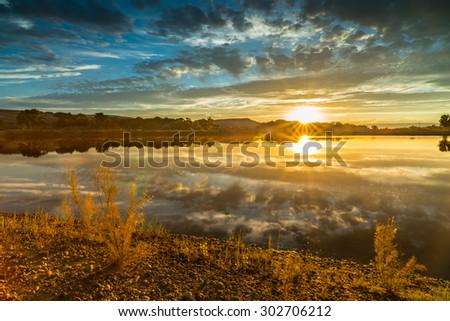Lake at James M. Robb - Colorado River State Park - stock photo