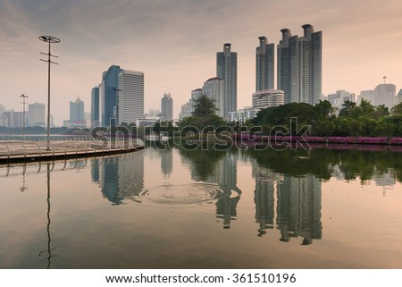 Lake at the Benchakitti Park in Bangkok on 7 Jan 2016. Benjakiti Park is a park in honor of Her Majesty Queen Sirikit, is located in the factory area.