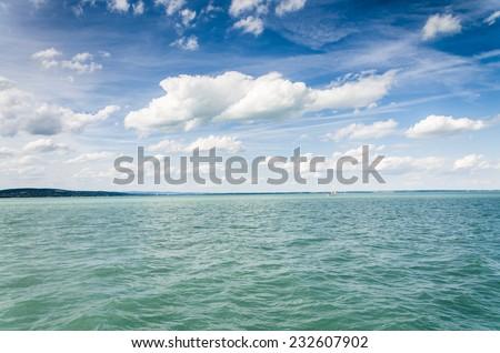 lake background - stock photo