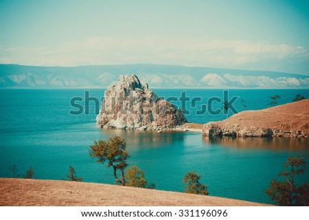 lake baikal rock shaman - stock photo