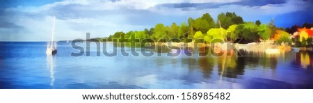 Lake balaton at summer, Hungary ,painting - stock photo