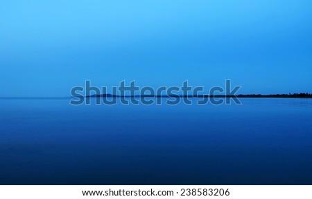 Lake Balaton in blue light, Hungary - stock photo