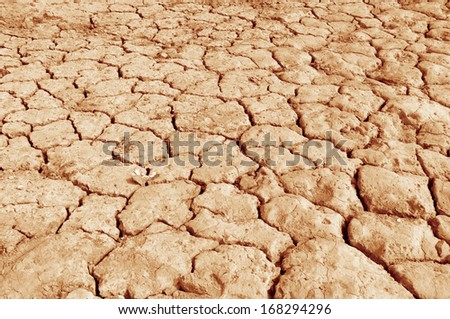 Lake bed drying up due to drought - stock photo