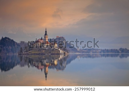 Lake Bled. Lake Bled with St. Marys Church of the Assumption on the small island. Bled, Slovenia, Europe. - stock photo