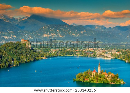 Lake Bled with St Marys church on the small island,Bled,Slovenia,Europe - stock photo