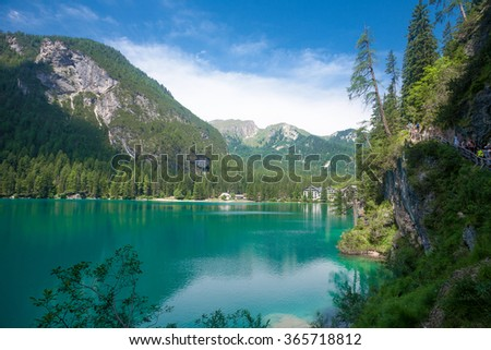 Lake Braies in the Dolomites, Italy