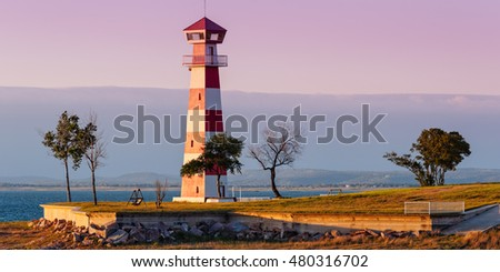 Lake Buchanan Lighthouse In Golden Hour Sunset Light - Texas Hill Country