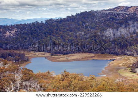 Lake Catani viewed from the Monolith Lookout, Mt. Buffalo National Park, Victoria, Australia - stock photo