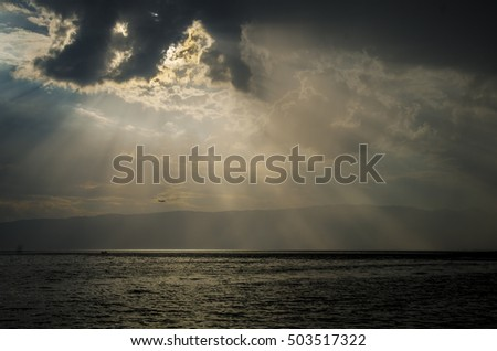 Lake, clouds, sunrays, Ohrid Lake, Macedonia