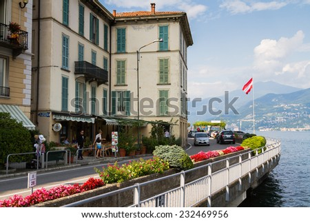 LAKE COMO, ITALY - AUGUST 07: Street in a small town near Lake Como, Lombardy, Italy on August 07, 2014.