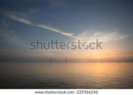 lake constance sunset  - stock photo