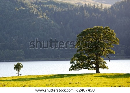 Lake District England by sunset