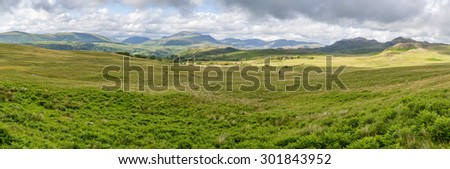 Lake district panorama in Cumbria england uk.  Stunning landscape. - stock photo