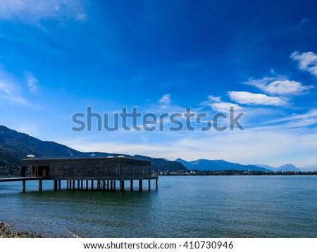lake dwelling building - stock photo