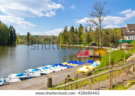 Lake Ebnisee in spring, Kaiserbach, Germany