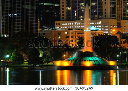 Lake Eola Fountain in dowtown Orlando, FL