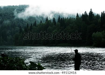 lake fishing - stock photo
