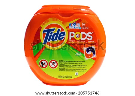 Lake Forest, CA. - February 18, 2014: A 51 ounce tub of Tide Pods with 57 Capsules. Tide has more than 30% of the liquid-detergent market, with more than twice the sales as the next brand.      - stock photo