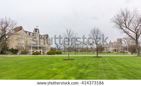 LAKE FOREST, IL, USA - APRIL 30: Young Hall and Reid Hall at Lake Forest College, in Lake Forest, Illinois, on April 30, 2016 in LAKE FOREST, IL, USA.