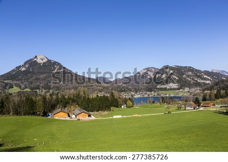 Lake Fuschl with beautiful alps panorama and green meadow