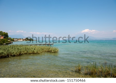 Lake Garda at town of Sirmione. Italy. - stock photo
