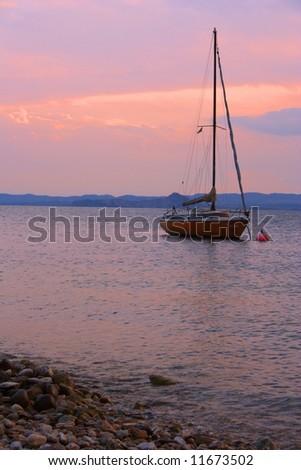 lake Garda italy yacht - stock photo