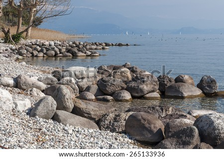 Lake Garda Landscape, captured on the morning near Padenghe sul Garda, Brescia, Italy. Taken on March 8th, 2015. - stock photo