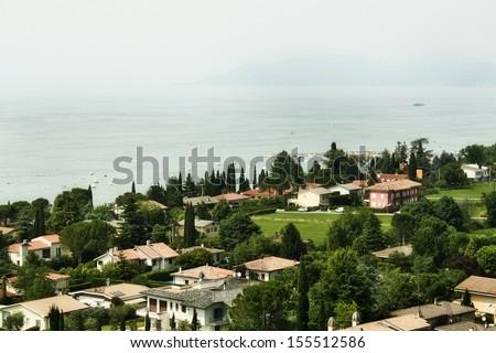 Lake Garda on the background - stock photo