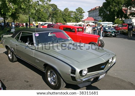 LAKE GEORGE, NY - SEPT 12: An 1968 Chevy Camaro being shown off at the 21st Annual Adirondack Nationals on September 12, 2009 in Lake George, NY - stock photo