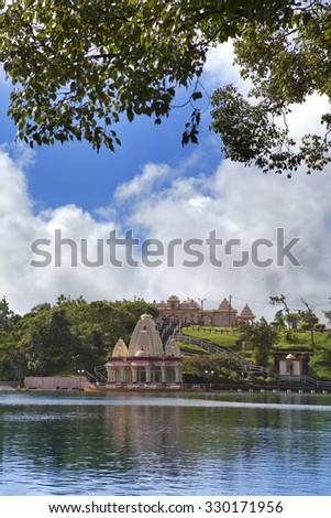 lake Grand Bassin - hindu temples of Mauritius - stock photo