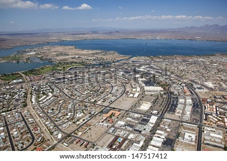 Lake Havasu, Arizona with an aerial view of the city center, marina and the London Bridge - stock photo