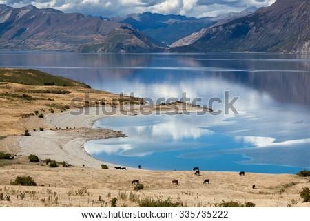 Lake Hawea - stock photo